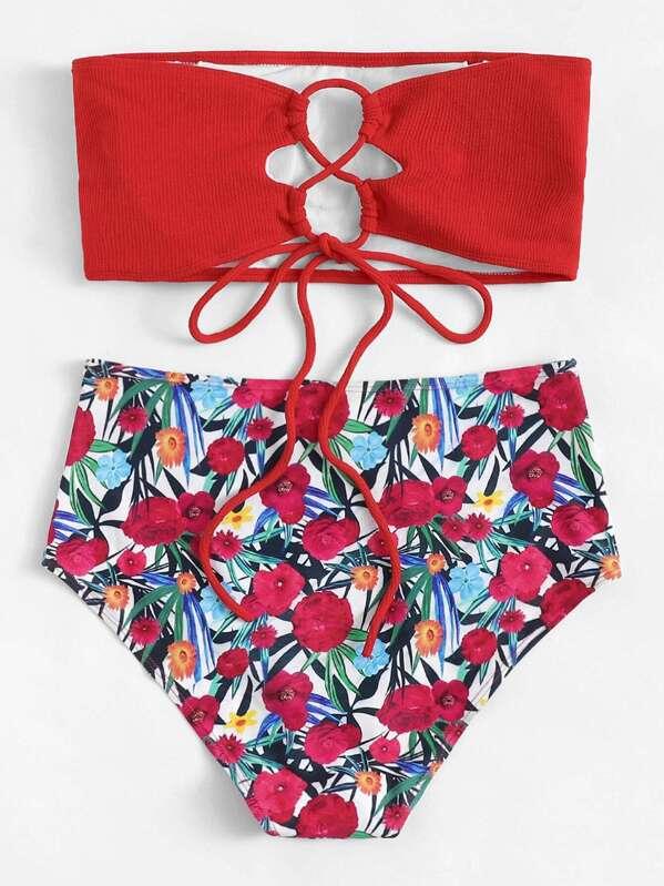 c085850cd4 Cheap Plus Lace-up Bandeau With Floral High Waist Bikini for sale Australia