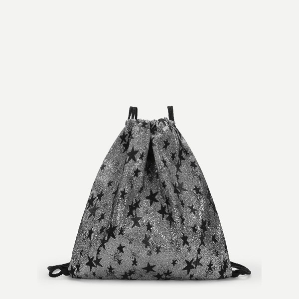 Star Decor Glitter Drawstring Backpack, Grey