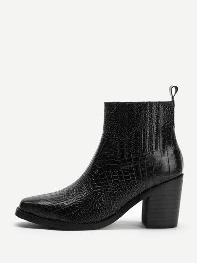 10491a4678a5 Crocodile Pattern Block Heeled Ankle Boots