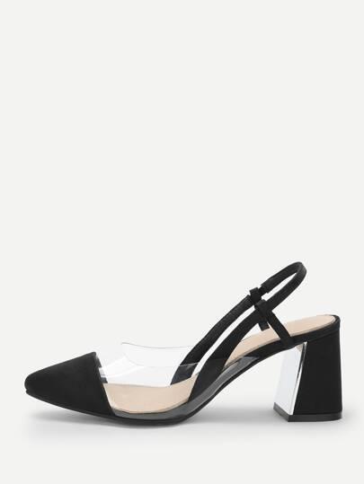 00fbce10362 Transparent Cap Toe Chunky Heels