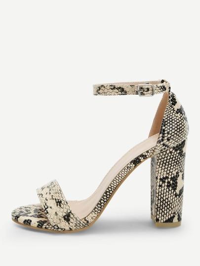 02c3d98be48a Snakeskin Pattern Ankle Strap Heels