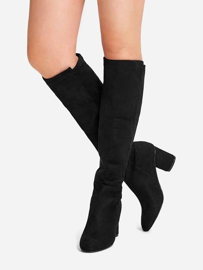 079b23350c6 Plain Knee High Block Heeled Boots