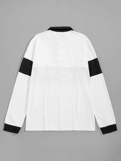 24457319c Men Color Block Letter Embroidery Polo Shirt