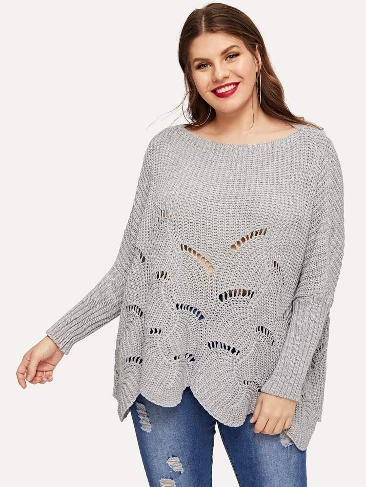 aac62dde190 Plus Drop Shoulder Scallop Edge Ripped Sweater