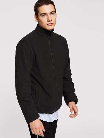 Men Solid Zip Up Jacket