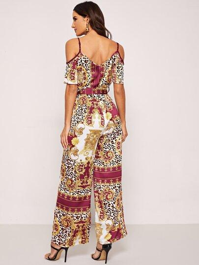 2a7b0a7ceda Waist Belted Scarf Print Cami Jumpsuit -SheIn(Sheinside)
