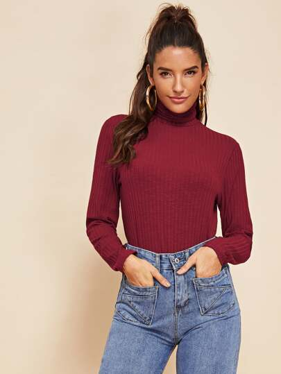 6291f353a0 High Neck Ribbed Knit Tee