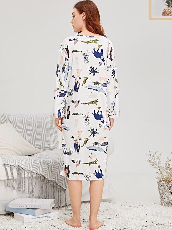 Allover Animal Print Night Dress -SheIn(Sheinside) abb8ec9d0