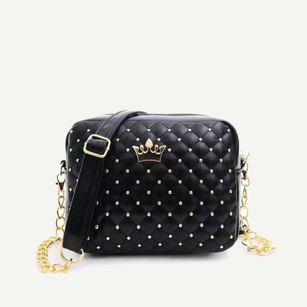 Crown Detail Quilted Bag, Black