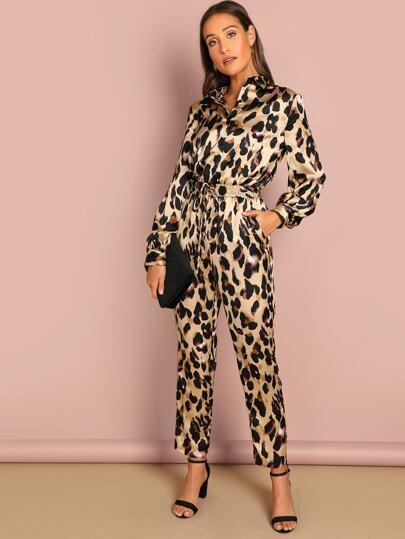 3f0d2b5c84d Self Belted Leopard Shirt Jumpsuit