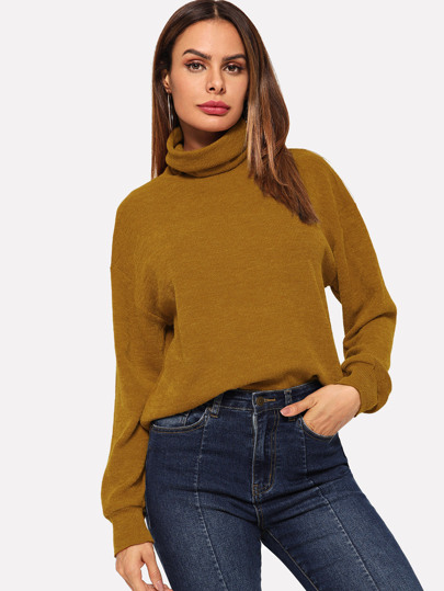 High Neck Solid Pullover ccffaffd4