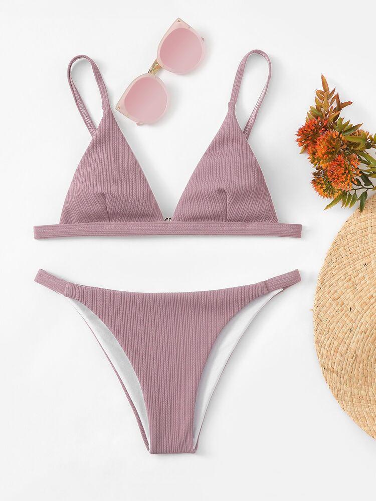 2846c89c35 V-Plunge Ribbed Top With Tanga Bikini Set | SHEIN