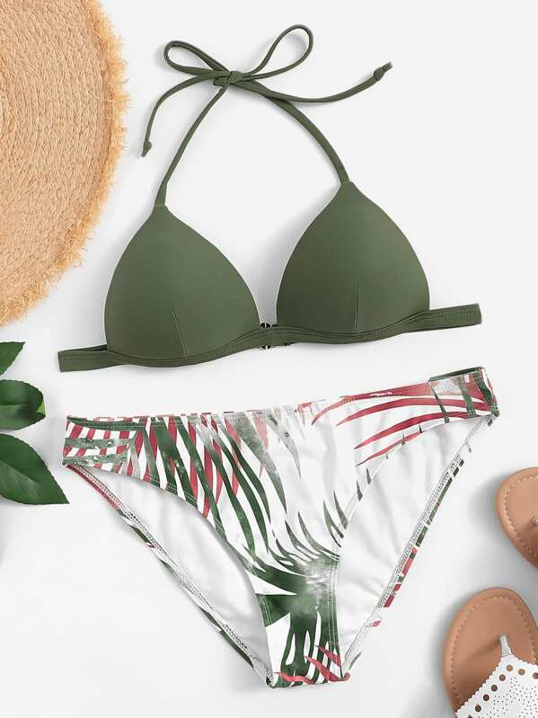 e450d6aaeb Set de bikini con estampado de hoja al azar-Spanish SheIn(Sheinside)