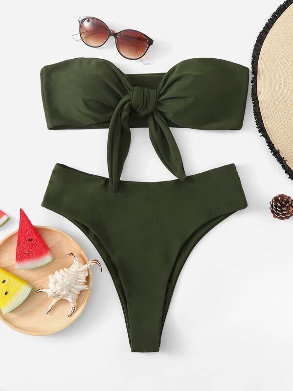 85a45d9918ad2 Tie Front Bandeau With High Leg Bikini Set -SheIn(Sheinside)
