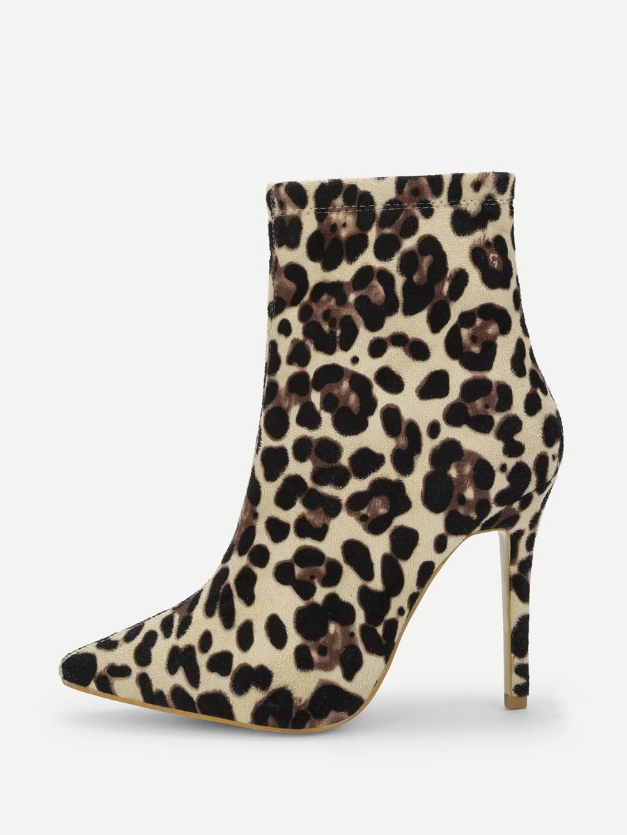 Leopard Print Point Tone Suede Boots by Shein