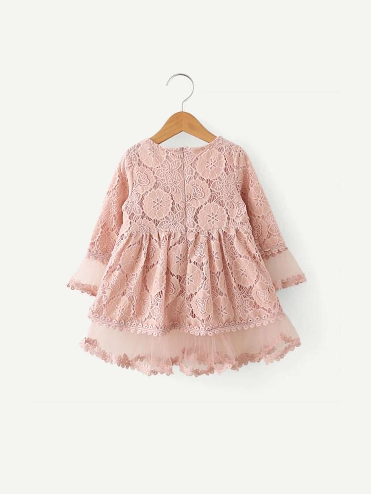c6693a88af9 Toddler Girls Lace Overlay Babydoll Dress