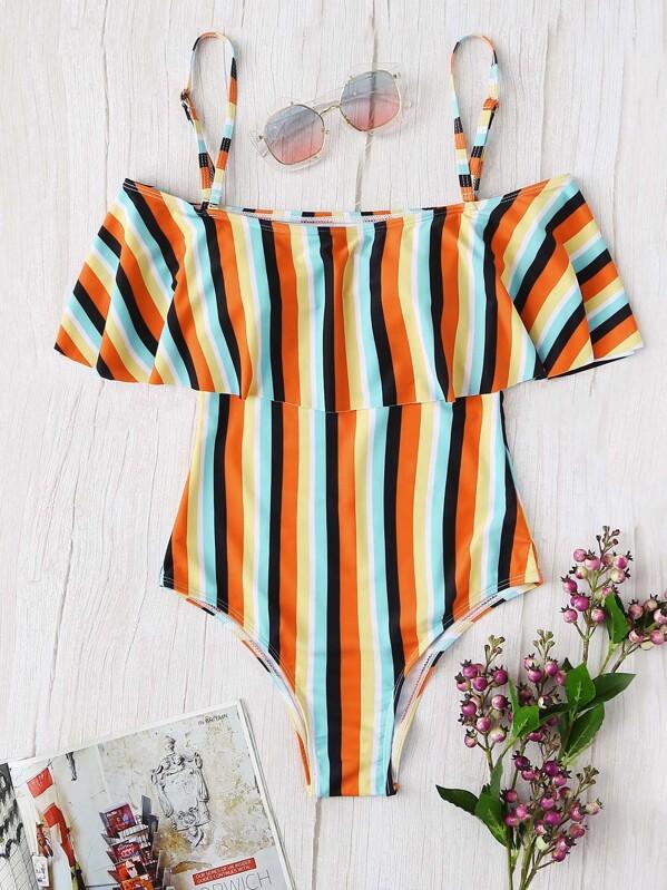 ee76ab0af1 Plus Striped Flounce One Piece Swimsuit -SheIn(Sheinside)
