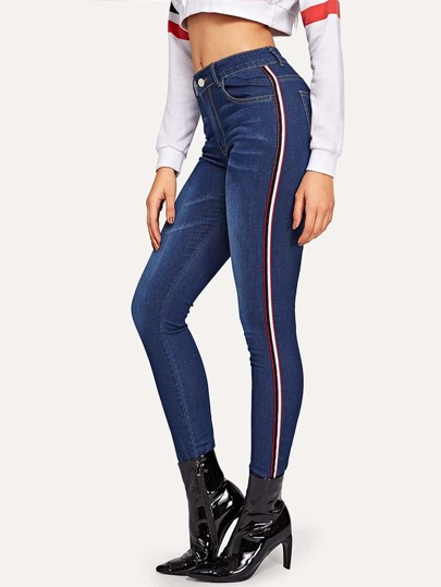 efb66e649d24 Striped Tape Side Skinny Jeans -SheIn(Sheinside)