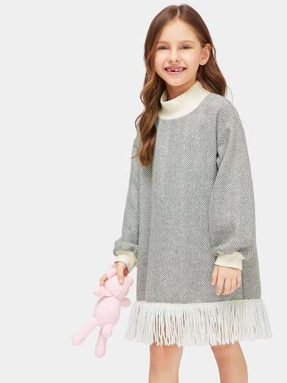 Girls Fringe Hem Herringbone Pattern Dress