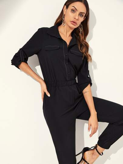 2abcb5a6653 Rolled Tab Sleeve Utility Shirt Jumpsuit