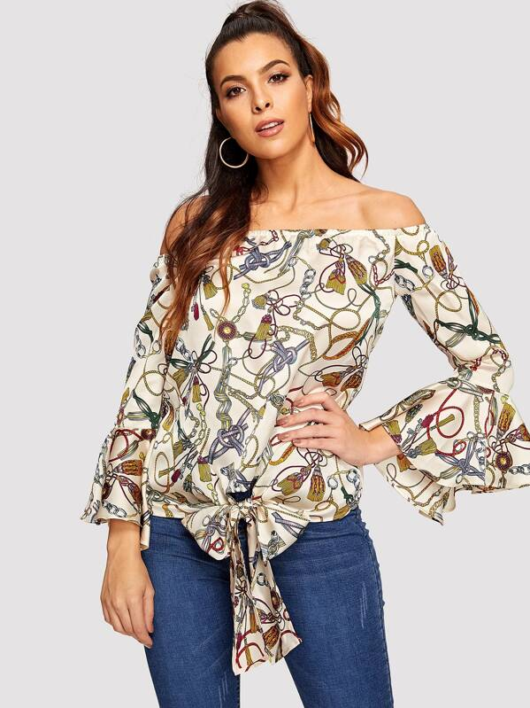 Chain Print Off The Shoulder Flounce Sleeve Blouse