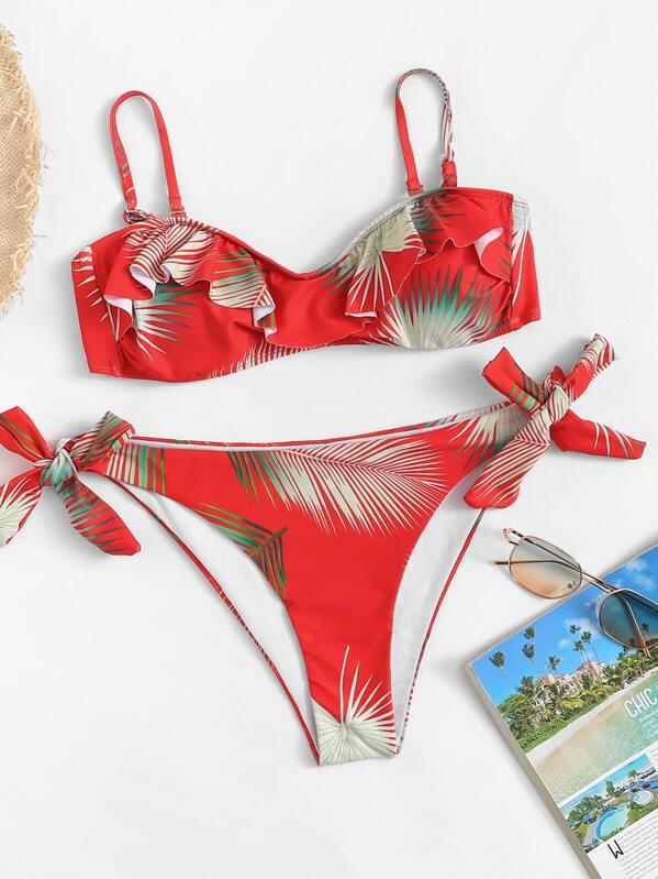 8a49fb0821 Random Leaf Print Bikini Set -SheIn(Sheinside)