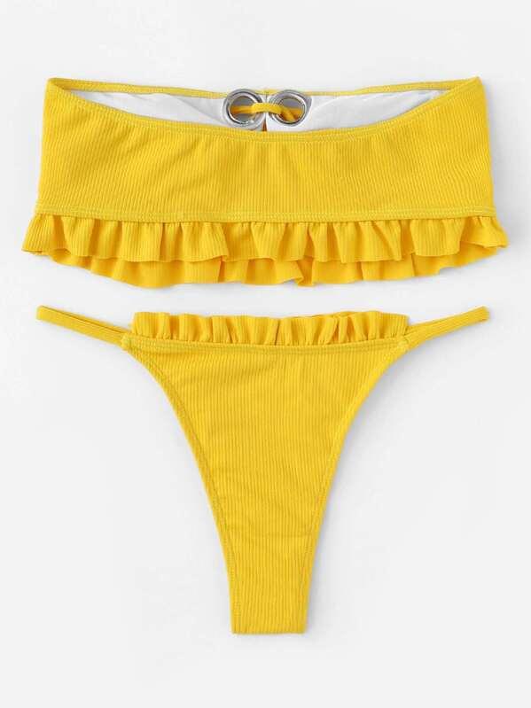 Frill Trim Ribbed Bandeau Med High Cut Bikini -Svenska SHEIN(SHEINSIDE) 0a39f3ef39b94
