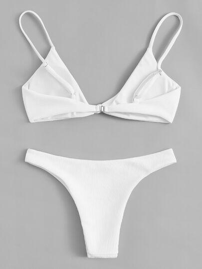 c14cfc05920bc Ensemble de bikini en tissu côtelé avec nœud-French SheIn(Sheinside)