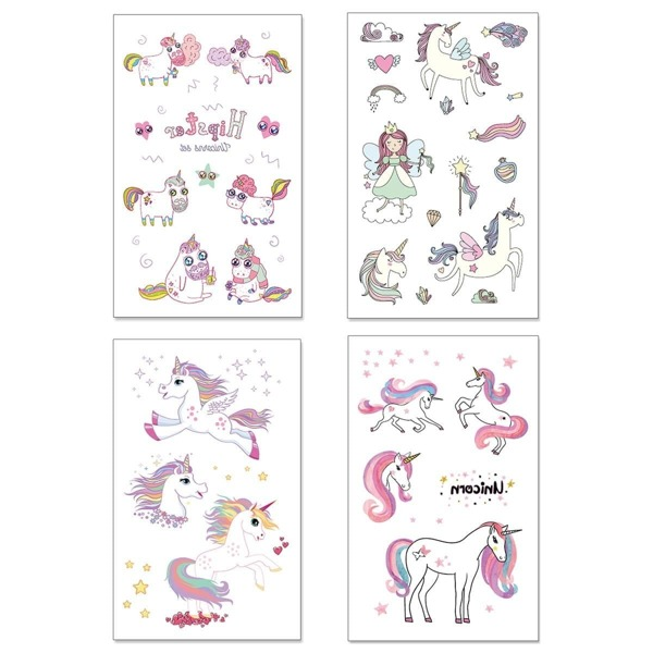 Cartoon Animal Shaped Tattoo Sticker 4pack, Multicolor