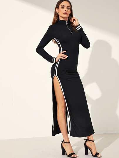 d4b346e408 O-ring Zip Front High Split Side Striped Dress