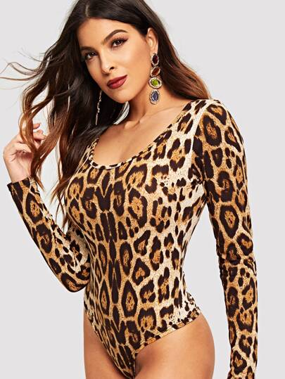 Slim Fitted Leopard Print Bodysuit 988277788