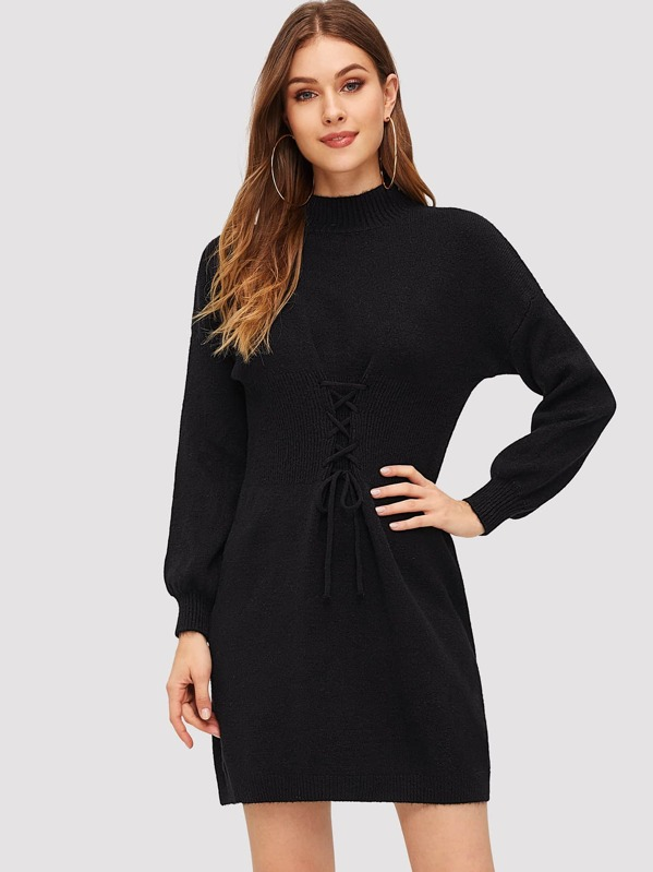 6d94ca46be Lace Up Front Solid Sweater Dress -SheIn(Sheinside)