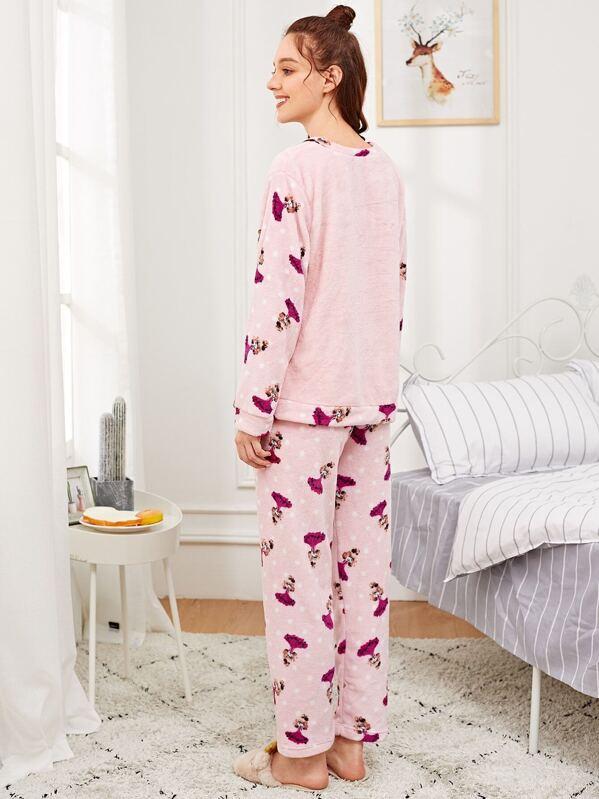 645d5c1d44 Conjunto de pijama con felpa de lunares con estampado de niña-Spanish  SheIn(Sheinside)