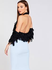 d12ef846be342a Cold Shoulder Fringe Detail Halter Crop Top