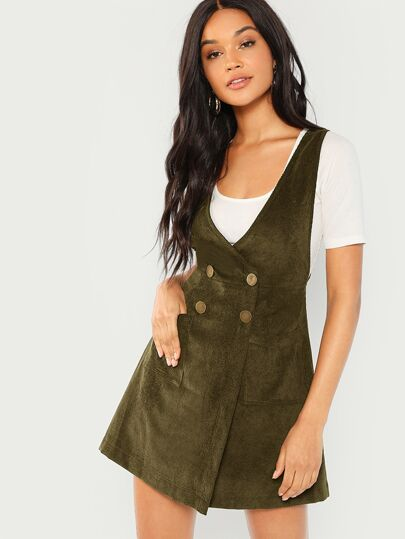 7cdbf51f52 Double Breasted Corduroy Pinafore Dress