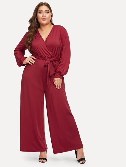 1575e4da9da Plus Surplice Front Self-tie Waist Jumpsuit