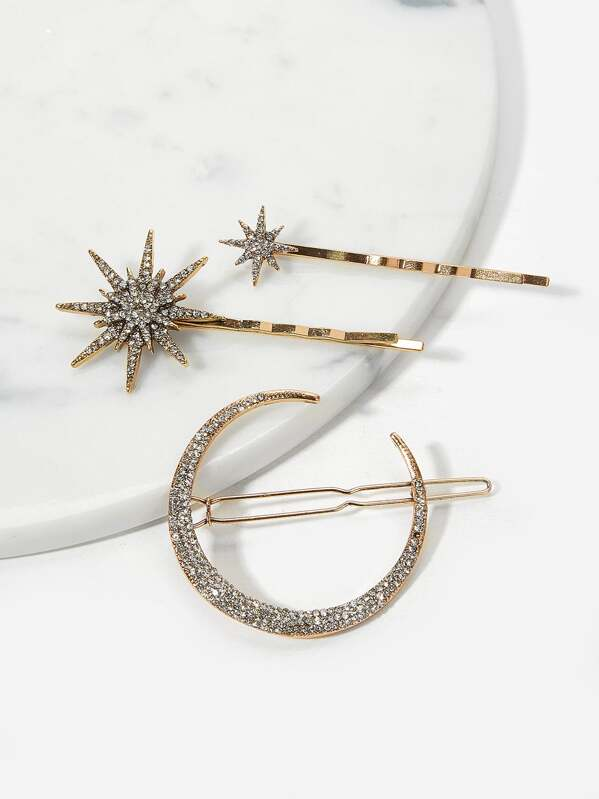 Rhinestone Decorated Metal Hairpin 3pack