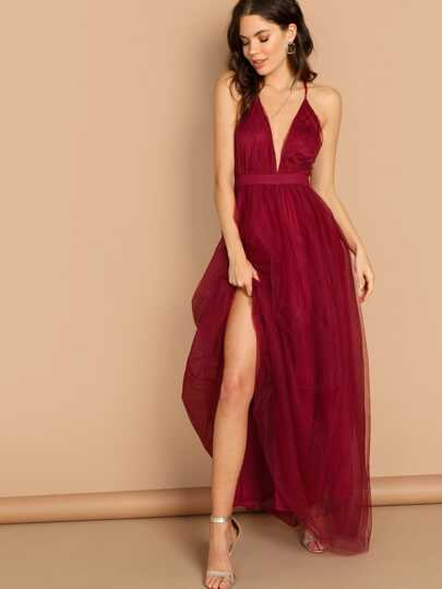 cf4f3a6a290d2 Plunging Neck Mesh-Overlay Maxi Dress