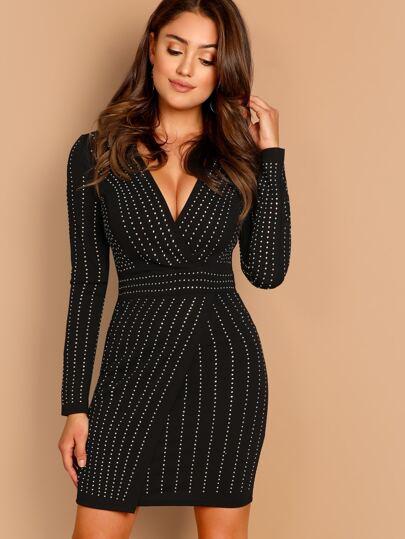 d4dda3a2b9 Stripe Rhinestone V-Neck Long Sleeve Mini Dress