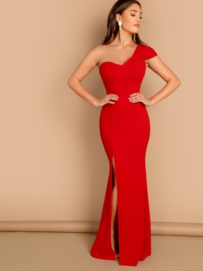 b58a3eccc7d One Shoulder Side Slit Bodycon Gown