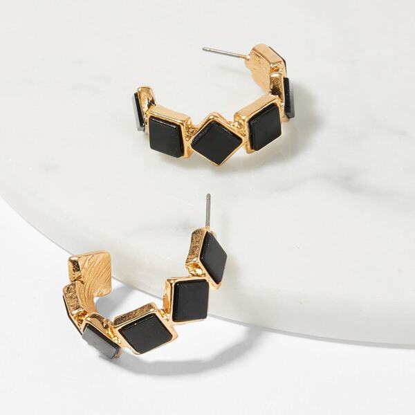 Color-block Square Open Hoop Earrings 1pair, Black