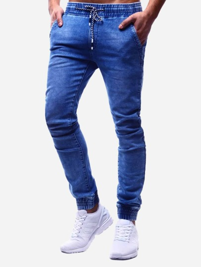 Men Drawstring Waist Solid Jeans