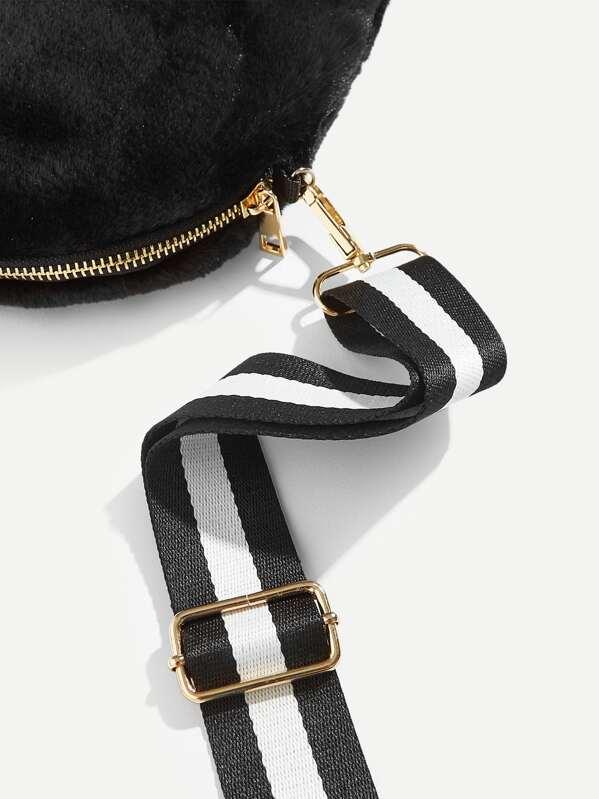 261e38591b95 Faux Fur Crossbody Bag With Guitar Strap -SheIn(Sheinside)