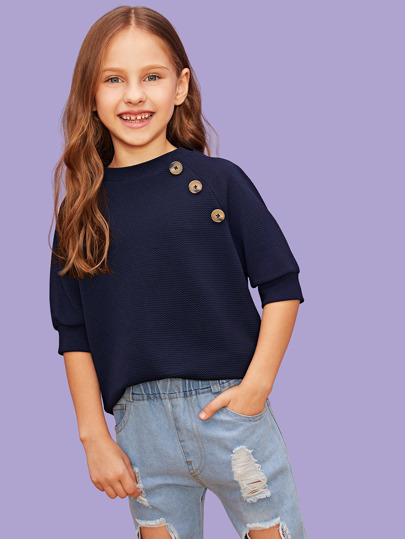 1fedb595423fcb Girls Button Detail Raglan Sleeve Top