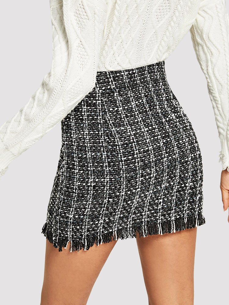 0fdd854960 Fringe Detail Tweed Bodycon Skirt | SHEIN