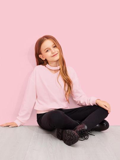 47d007c5934a Girls Choker Neck Solid Sweatshirt