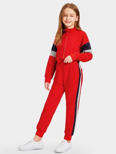 58dada2e071f Girls Zip Front Color Block Track Jumpsuit
