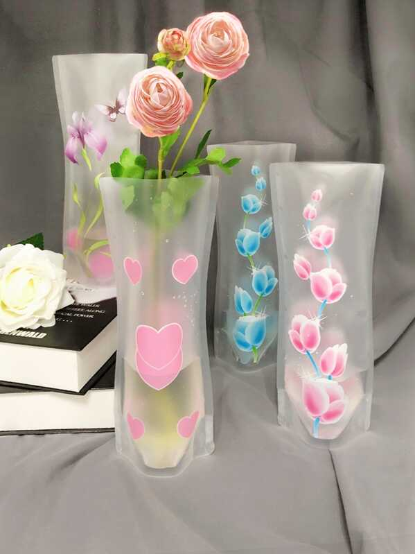 Random Pattern Flower & Heart Print Vase 1pc