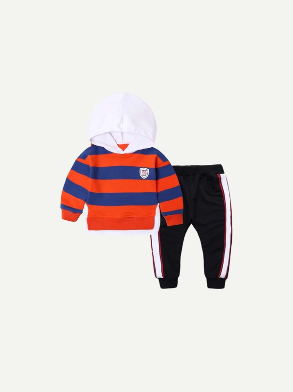 Toddler Boys Striped Hoodie With Contrast Tape Side Pants