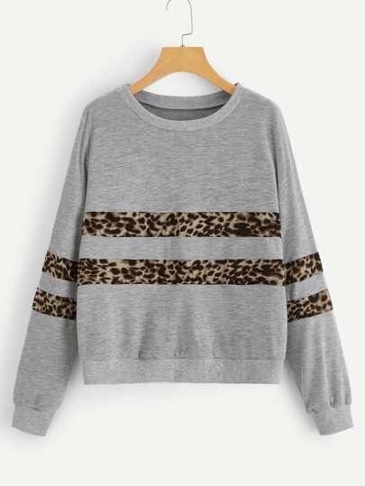 10131458d230c5 Leopard Print Sweatshirt -SheIn(Sheinside)